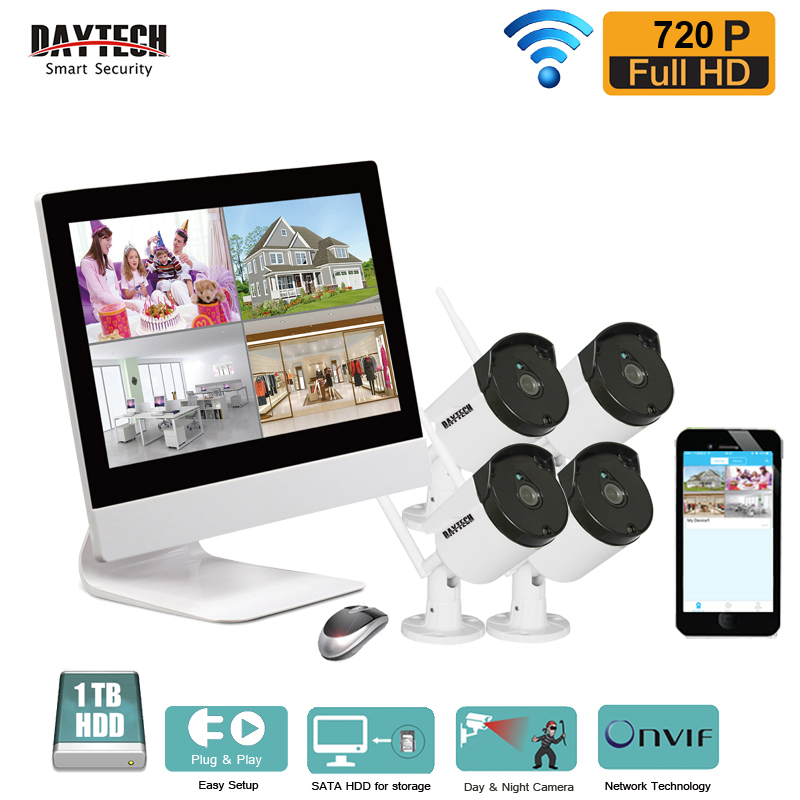 DAYTECH 4CH Wireless Surveillance System Wireless LCD NVR Camera Kit 720P Wireless Outdoor Bullet IP Camera System Night Vision 10 lcd monitor wireless nvr with 4pcs 720p wireless camera make up wireless surveillance system easy instal and easy use