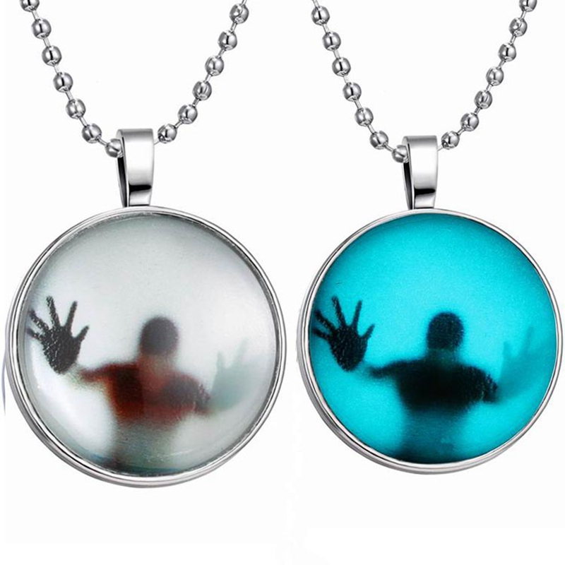 Luminous Pendant Necklace Punk Style Shadow Creative Fashion Luminous Necklaces For Women Sweather Chain Spider-Man Jewelry
