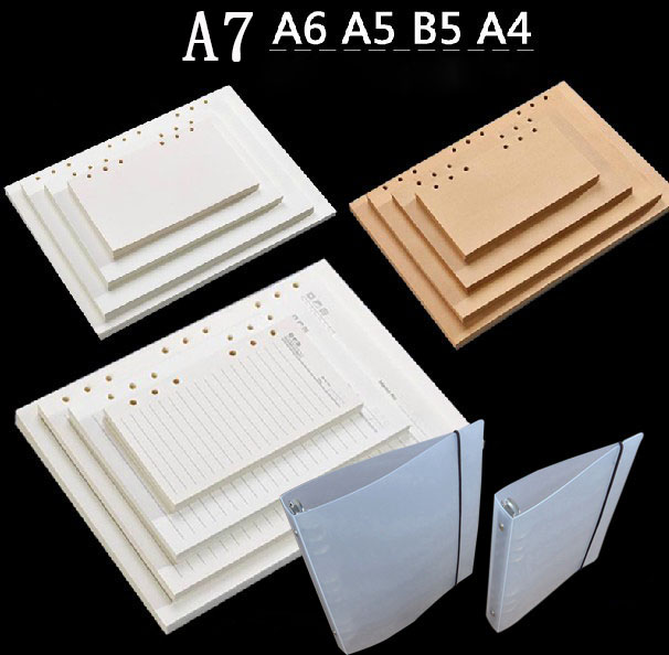 80sheets vintage check kraft blank lined pages for notebook, 4/6/9 hole rings refiller A4 B5 A5 A6 a7 notepad paper stationery