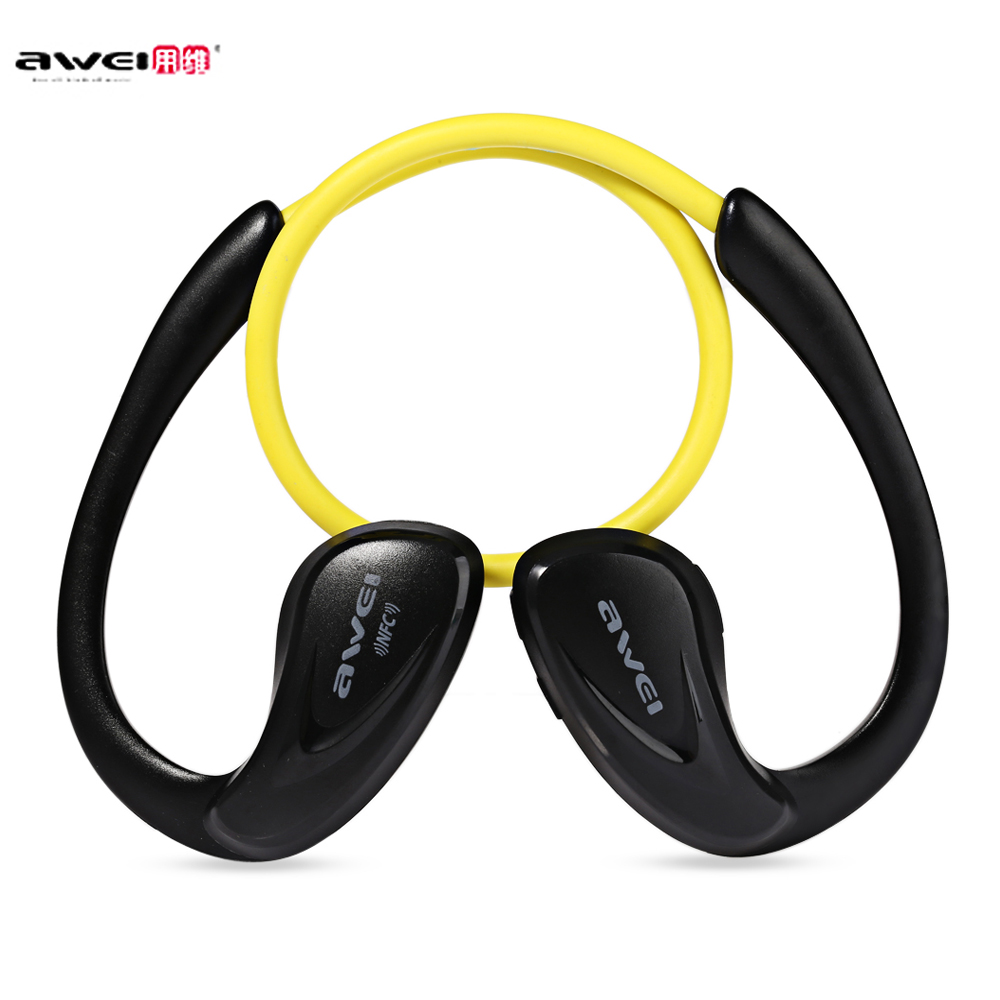Awei A880BL Wireless Bluetooth V4.0 Headphones Sports Stereo Earphones HiFi Sound Mic Ear Hook for Mobile Phones