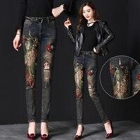Black Jeans Women Autumn Winter Ins Fashion Female Embroidery Sequins Phoenix Holes Jeans Slim Denim Pants Girls Ladies Jeans
