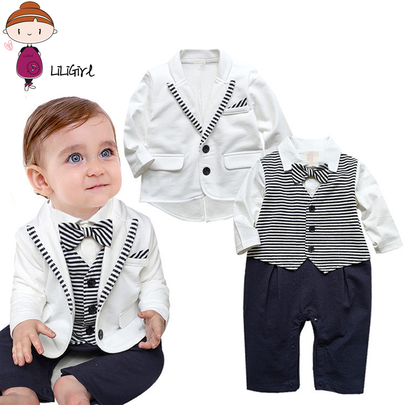 Formal Toddler Clothes Sets Boy Jacket Gentleman Baby Boys  White Coat+ Sstriped Rompers Clothing Set Newborn Wedding Suits 1-3T baby boys clothes set 2pcs kids boy clothing set newborn infant gentleman overall romper tank suit toddler baby boys costume