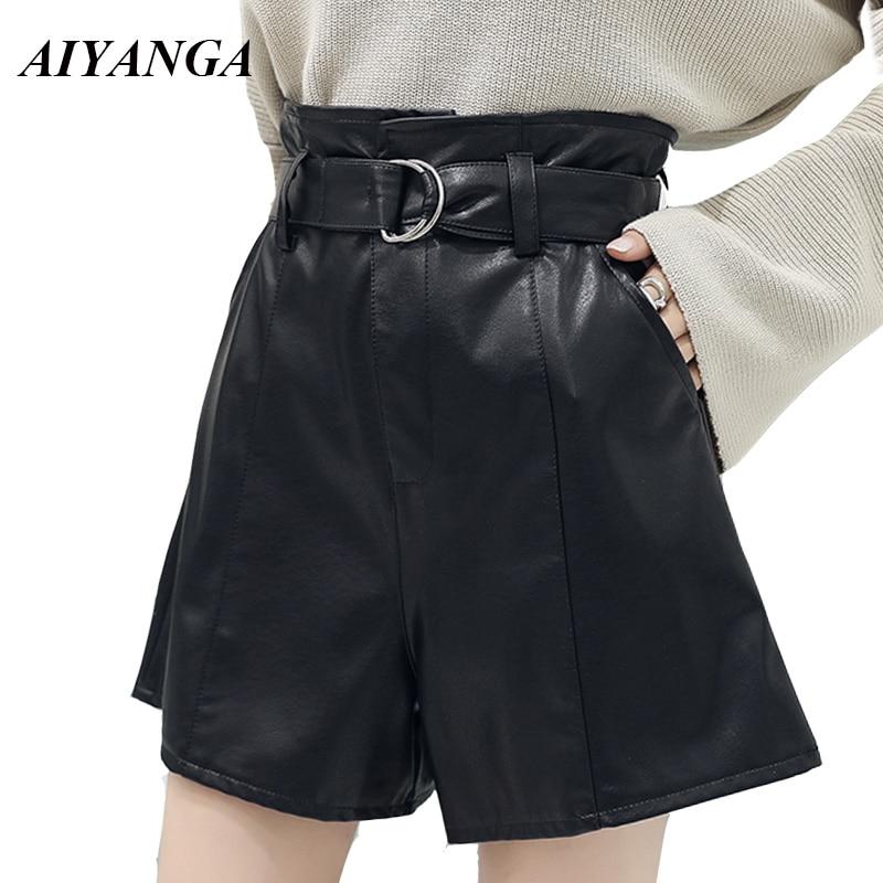 AIYANGA Women PU Shorts 2018 Autumn Winter Leather Shorts High Waist Wide Leg Slim Sashes Solid Black Casual Shorts Female
