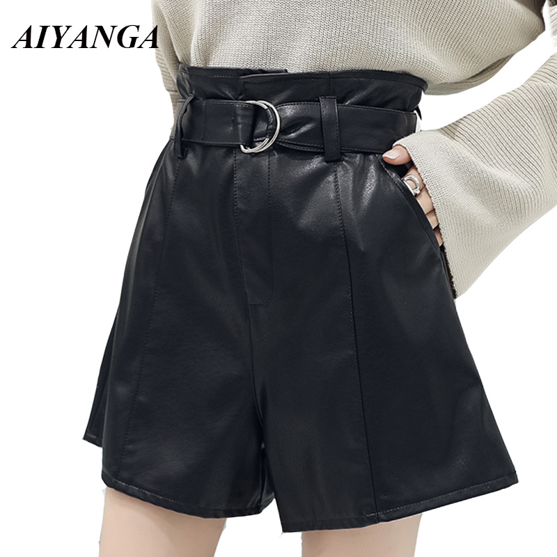 AIYANGA Women PU   Shorts   2018 Autumn Winter Leather   Shorts   High Waist Wide Leg Slim Sashes Solid Black Casual   Shorts   Female