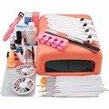 Promoción 11.11 UV Gel Nail Art Kit de 36 w Pink UV lámpara de Uñas secador de Gel Cepillo Extremidades Falsas del Pegamento de Acrílico Del Polvo de Uñas de Manicura Kit de Herramientas