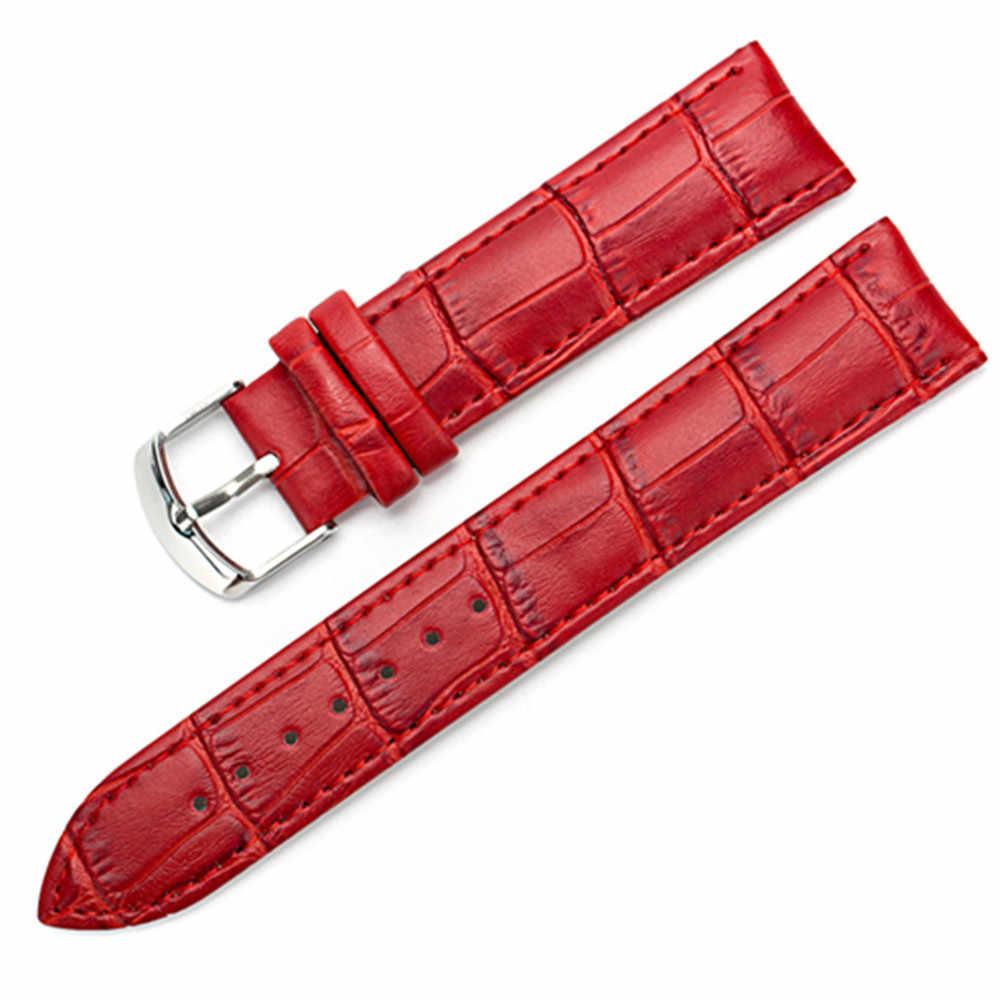 8 10 12 14 15 16 17 18 19 20mm asli gelang kulit menonton jam tangan tali sabuk band perempuan merah putih hitam