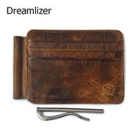 Dreamlizer Hommes Argent Clips Vintage En Cuir Véritable De Carte De Crédit Avant pince pour L'argent Titulaire Money Clip Portefeuille avec la Carte ID cas