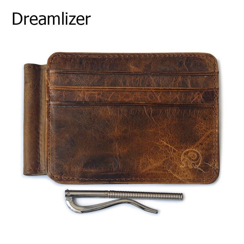 Dreamlizer Men Money <font><b>Clips</b></font> Vintage <font><b>Genuine</b></font> Leather Front Credit Card Clamp for Money Holder Money <font><b>Clip</b></font> Wallet with Card ID Case