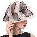 Джун молодых женщин шляпы геометрический узор Champange черный цвет 100% Sinamay материал элегантная дама мода ну вечеринку свободного покроя Fedoras
