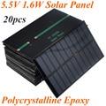 20 шт./лот Высокое Качество 1.6 Вт 5.5 В 1.6 Вт 270mA Поликристаллического Эпоксидной Солнечные Панели Солнечных Батарей Солнечный Модуль DIY зарядное устройство 150 х 86 мм
