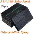 20pcs/lot High Quality 1.6W 5.5V 1.6W 270mA Polycrystalline Epoxy Solar Panel Solar Cell Solar Module DIY Charger 150x86mm