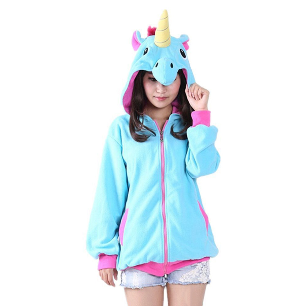 Autumn Winter Design Purple Hoodieed Animal Horse Sweatshirt Cartoon Cosplay Costumes Pajama Hoody Coat S-XL