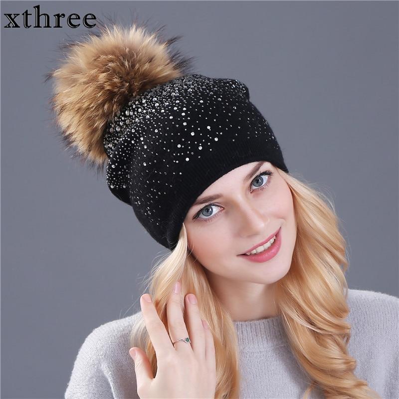 [Xthree] kvinnor vinter mössa hatt Kanin päls ull stickad hatt - Kläder tillbehör - Foto 2