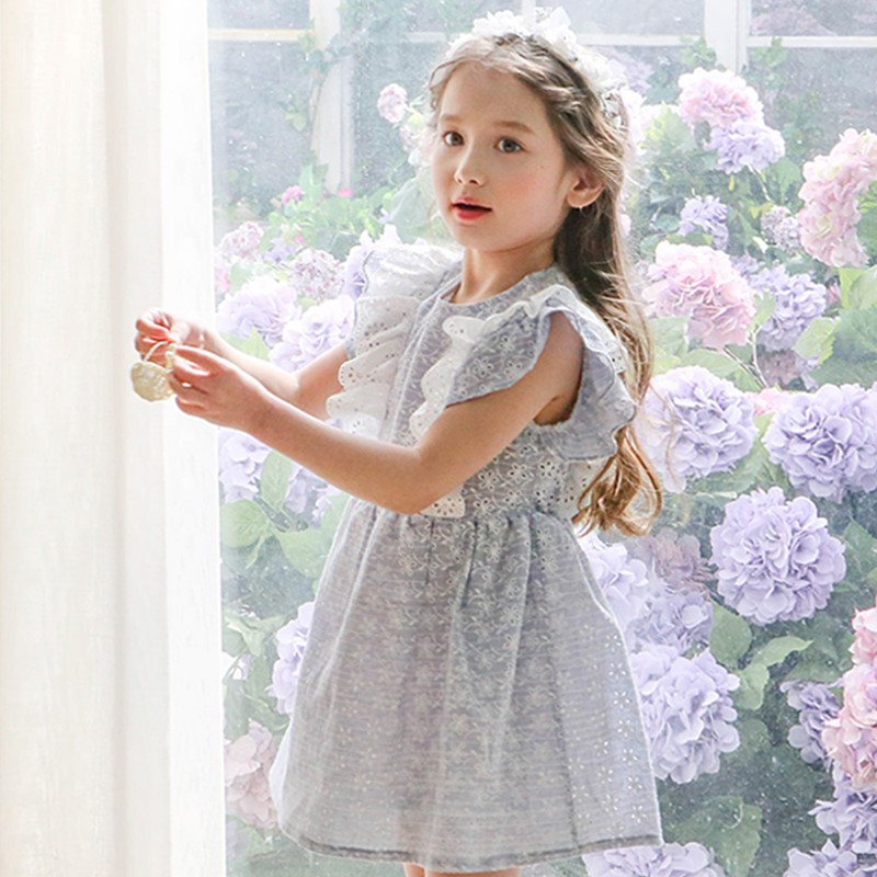 2017 Summer Dress Little Girls Dresses Fly Sleeve Puff Ball Style Baby Clothes Princess Grey Cotton Child Kids Dresses for Girls little maven 2017 new summer baby girls floral print dress brand clothes kids cotton duck rabbit printing dresses s0136