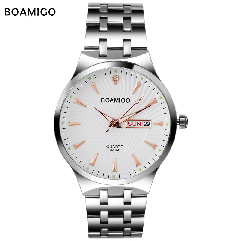 Fashion men quartz watch silver steel wristwatch casual dress business clock male top BOAMIGO brand waterproof