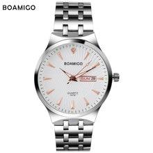 Moda hombre reloj de cuarzo reloj de pulsera de acero de plata vestido de negocios reloj ocasional masculina superior boamigo marca impermeable relogio masculino