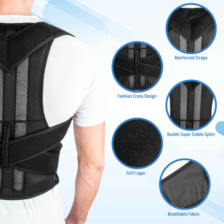 Corsé ajustable para adultos Corrector de postura en la espalda hombro de terapia abrazadera Lumbar correa de soporte de columna vertebral corrección de postura para hombres y mujeres