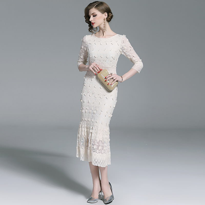 Summer New Lace Dress Fashion White Embroidery High Waist Fishtail Dress in Dresses from Women 39 s Clothing