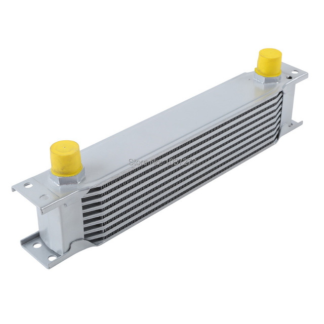 SILVER UNIVERSAL 9 ROW AN-10AN ENGINE TRANSMISSION RACING OIL COOLER