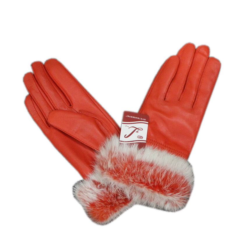2019  Winter Rabbit Fur Genuine Leather Gloves Women Feminino Real Sheepskin Finger Black/Brown Motorcycl Mittens Guantes Mujer