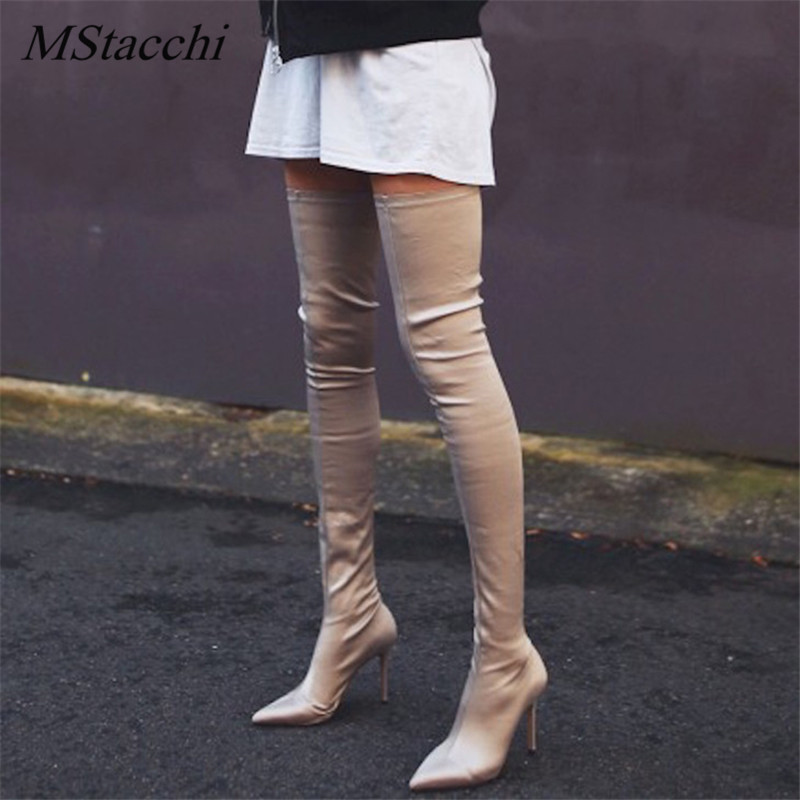 Mstacchi New Women Boots Long Stretch Slim Thigh High Boots Fashion Over the Knee Boots Pointed High Heel Shoes Woman Sock Boots black stretch fabric suede over the knee open toe knit boots cut out heel thigh high boots in beige knit elastic sock long boots