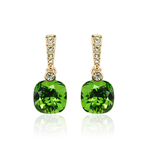Luxury Crystal dangle earrings green stone ear drop gold color with austrian crystal Brand Jewelry