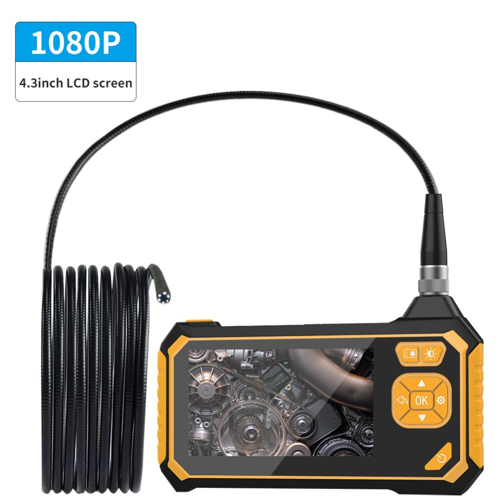 1080P Industrial Endoscope Inspection Camera Portable Handheld Borescope Videoscope with 4 3 inch LCD With 2600mAh