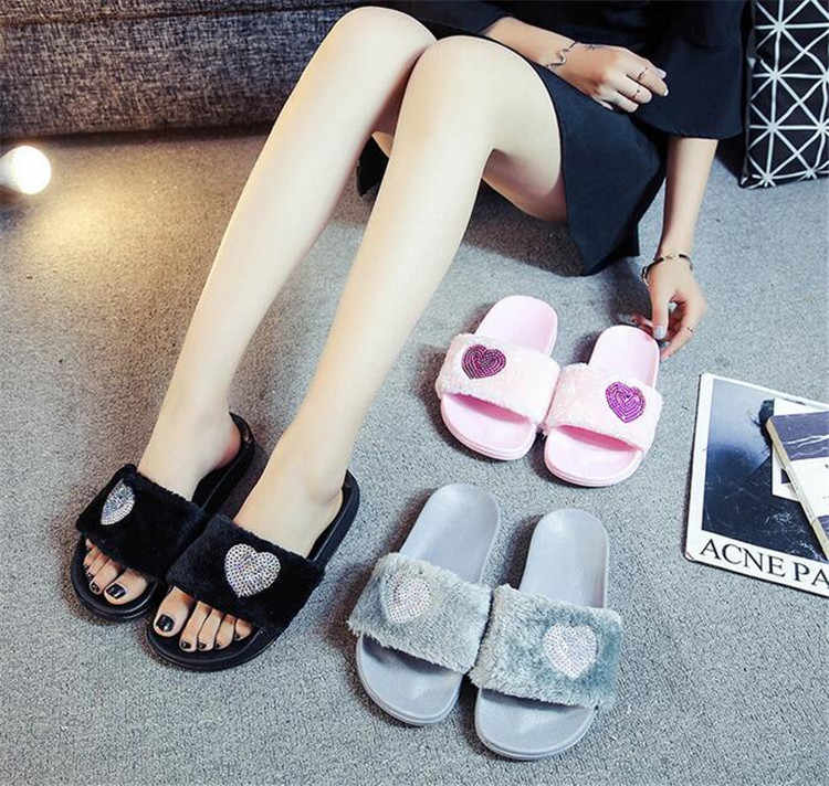 7cf228097034 PXELENA New Women Slippers Ladies Slip On Sliders Fluffy Faux Fur Flat  Slipper Flip Flop Sandals