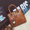 Fashion patchwork designer cattle split leather bags women handbag brand high quality ladies shoulder bags women bag 738