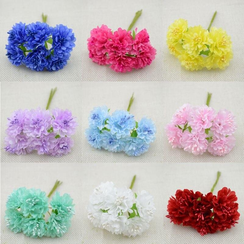 free shipping 72pcs/lot Silk artificial Stamen Bud Bouquet flower for home Garden wedding Car corsage decoration crafts plants