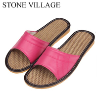 STONE VILLAGE Shoes Woman Microfiber Leather Home Slippers Indoor Shoes Men And Women Summer Shoes Candy