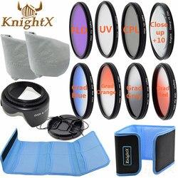KnightX 49 MM 52 MM 55 MM 58 MM 67 MM FLD UV CPL ND linii gwiazda zestaw filtrów zestaw kolorów do aparatu Nikon Canon t5 700d d3200 d3100 aparatu DSLR