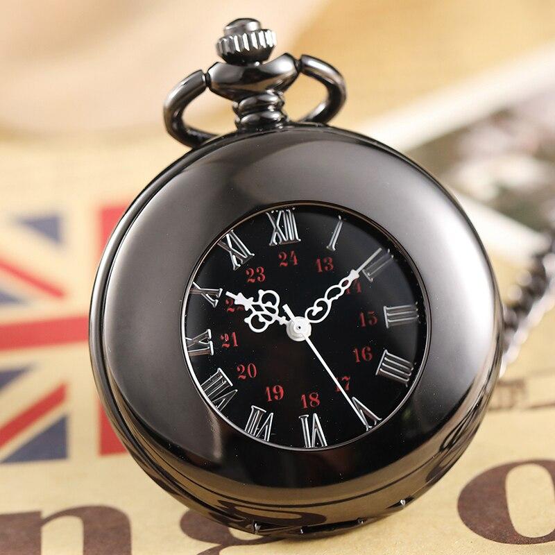 Retro Smooth Black Case Mechanical Pocket Watch Male Clock Roman Numerals Skeleton Men Women Pocket Watch With Necklace blackhawk field operator watch with black numerals