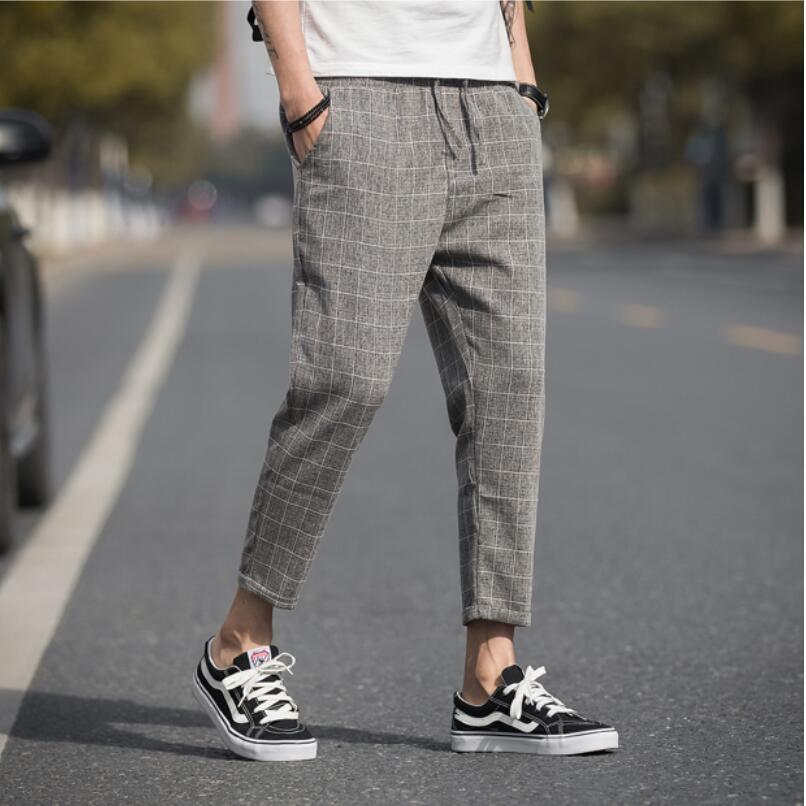 Plaid Pants Men Trousers Linen Hip-Hop Ankle-Length Streetwear Men Leisure Size-S-5xl