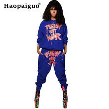 S-XXL Plus Size Black Letter Print Tracksuit Women Two Piece Set Spring Streetwear Top and Pants Suit Casual 2