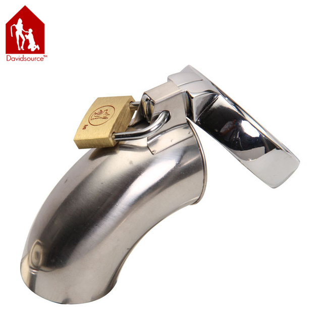 "Davidsource 4.5""Long 1.4""Wide Stainless Metal Chastity Lock Cock Cage Virginity Lock Hallow Tube Penis Torture Gear Men Sex Toy"