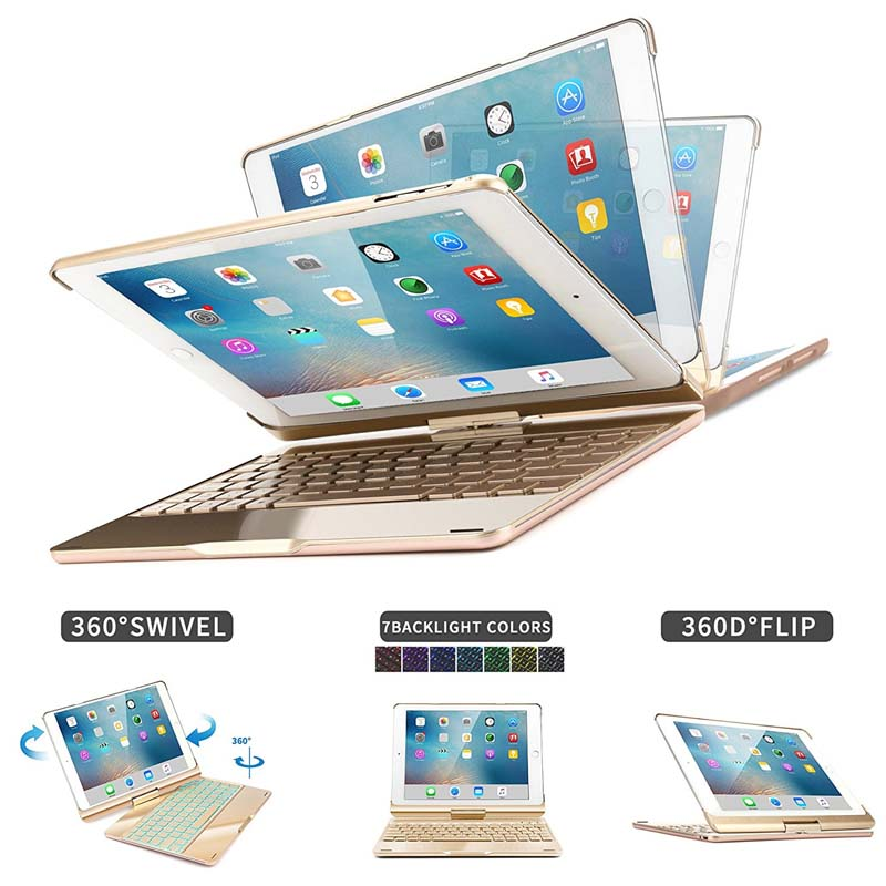 7 couleur étui pour clavier bluetooth rétro-éclairé Folio Smart 360 rotation support clavier couverture pour iPad Air/Air 2/iPad Pro 9.7 et iPad 9.7