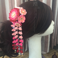 NEW Japanese Kimono Style Hairpin Handmade Flower Hair Accessories Colorful Headdress Custom color