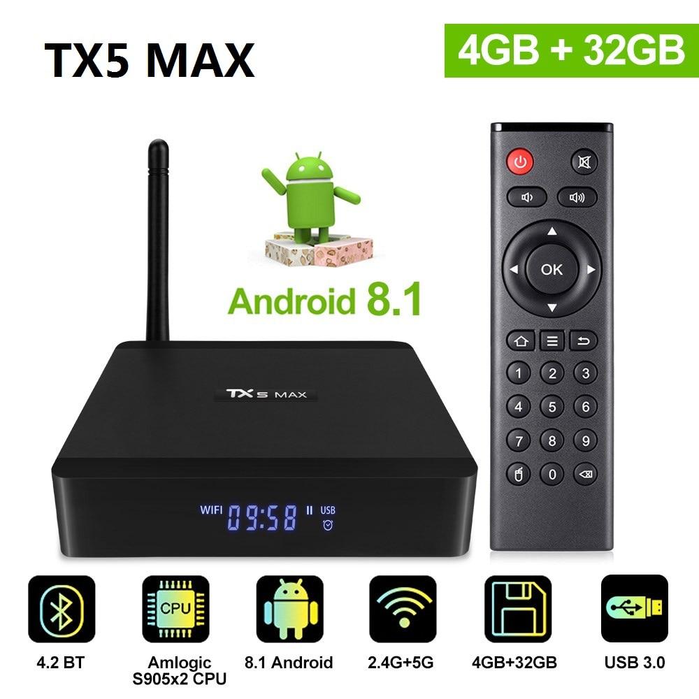 Tx5 Max Android 8.1 Tv Box 4 Gb 32 Gb Lpddr4 Amlogic S905x2 Quad Core Dual Wifi Bt4.2 1000 M 4 K Hdr Media Player Smart Box Tx5max Mit Einem LangjäHrigen Ruf Tv-receiver Set-top Boxen