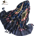 Vintage Ethnic Style Oblong Scarf for Women Bohemia Wrap and Shawl Spring Autumn Oversized Long Floral Pashmina and Foulard
