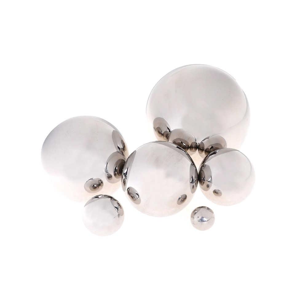 Bola de espejo esférico de acero inoxidable brillante, bola hueca de 16mm ~ 150mm, suministros de decoración del jardín para el hogar