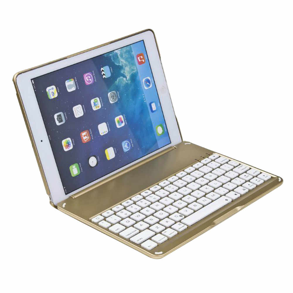 OMESHIN Ultra Aluminum Bluetooth Keyboard With Leather Case Cover Support iOS Windows Android System Keybord For Ipad / Ipad Air