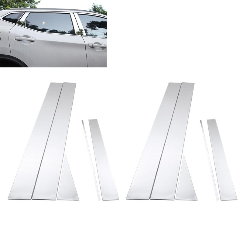 10Pcs Car Pillar Sticker Car Window Pillar Back Cover Trim For Nissan Qashqai J11 2014 2015 2016 2017 2018