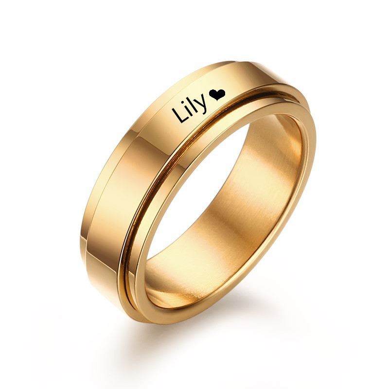 free lettering gold stainless steel rings for men women wedding giftcan engrave names