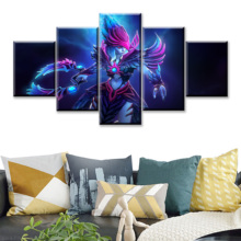 5 Piece HD Picture DOTA2 Video Game Poster Wall Sticker Vengeful Spirit Paintings Artwork Canvas Art for Home Decor Wall Art