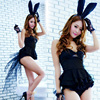 Black Bunny Sexy Dress Gloves Costume Sexy Skirt Underwear Babydoll Nightwear Pajamas Sleepwear Lingerie AS2616