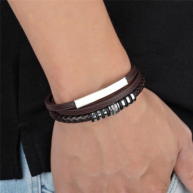 женский многослойный кожаный браслет популярные в европе браслеты фотография