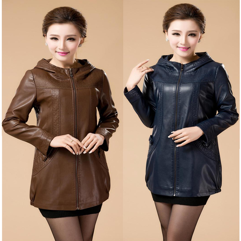 autumn and winter long leather clothing female plus size L ...