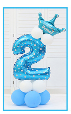 16 шт./упак. розового и голубого цвета для детей 0-9 цифры Большие Гелиевые номер Фольга детей фестивалей Dekoration День рождения шляпа игрушки для детей - Цвет: blue 2