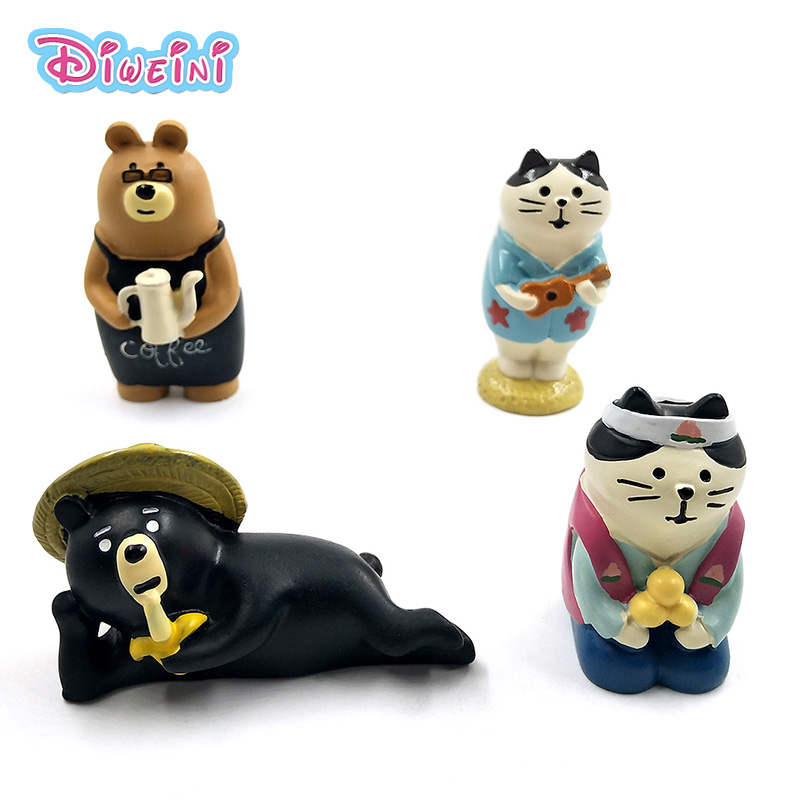 Japan Animation Decole Series White Cat Black Bear Model Miniature Figurine home Garden action Figures Decoration Girl toy gift